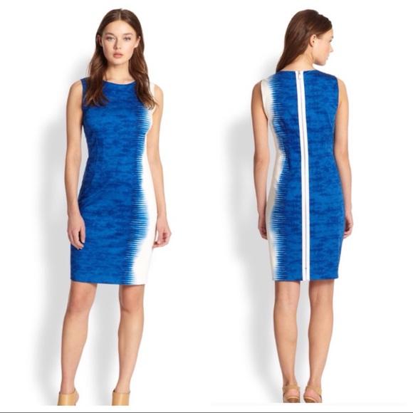 e219f11c1d21c Elie Tahari Dresses & Skirts - Elie Tahari blue white Emory sheath dress  cotton